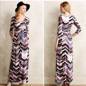 [Anthro] Maeve - Novello Chevron Maxi Dress - XS